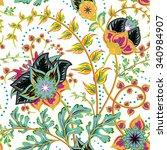 seamless pattern. vintage... | Shutterstock .eps vector #340984907