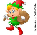 little kid with gnome costume | Shutterstock .eps vector #341003894