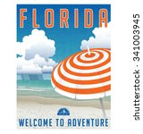 retro travel poster or sticker... | Shutterstock .eps vector #341003945