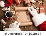 santa claus with gifts and wish ... | Shutterstock . vector #341018687