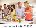 group of mature friends... | Shutterstock . vector #341021315