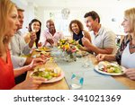 mature friends sitting around... | Shutterstock . vector #341021369