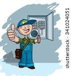electrician in blue hat... | Shutterstock .eps vector #341024051