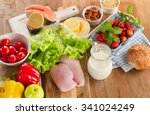 balanced diet  healthy food... | Shutterstock . vector #341024249
