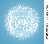 blue christmas snowflake wreath.... | Shutterstock .eps vector #341026769
