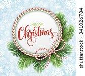 christmas circle frame of fir... | Shutterstock .eps vector #341026784