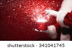 santa claus with magic box and... | Shutterstock . vector #341041745