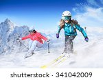 Dynamic Picture Of A Skier And...