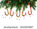 christmas tree branches with... | Shutterstock . vector #341054387