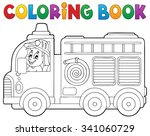 coloring book fire truck theme... | Shutterstock .eps vector #341060729