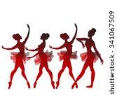 set of vector dancers in black... | Shutterstock .eps vector #341067509