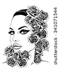 face with roses | Shutterstock . vector #341071544