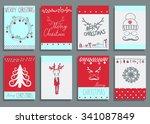 vector set christmas... | Shutterstock .eps vector #341087849