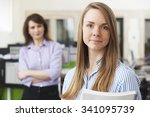 young businesswoman with mentor ... | Shutterstock . vector #341095739