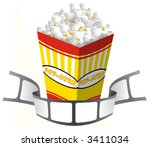 popcorn box with a movie tape | Shutterstock . vector #3411034