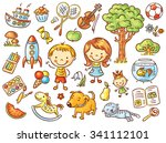 colorful doodle set of objects... | Shutterstock .eps vector #341112101