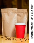 craft paper bag and cups | Shutterstock . vector #341115509