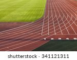 red running track divided by... | Shutterstock . vector #341121311