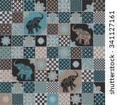vector seamless patchwork... | Shutterstock .eps vector #341127161