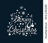 hand drawing text for merry... | Shutterstock .eps vector #341130185