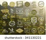 organic food labels vector set. ... | Shutterstock .eps vector #341130221