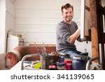 portrait of male artist working ... | Shutterstock . vector #341139065