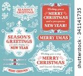 christmas set   labels  emblems ... | Shutterstock .eps vector #341141735