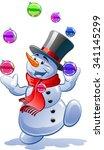 snowman juggles balls   Shutterstock .eps vector #341145299
