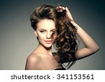 beauty fashion model with long... | Shutterstock . vector #341153561