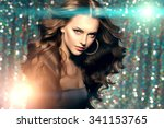 woman club lights party... | Shutterstock . vector #341153765