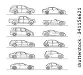 car icon set line draw vector... | Shutterstock .eps vector #341156621