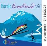 vector poster nordic combined... | Shutterstock .eps vector #341162129