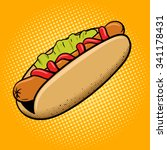 hot dog fast food pop art style ... | Shutterstock .eps vector #341178431
