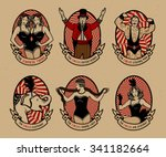 circus. vintage icons...   Shutterstock .eps vector #341182664