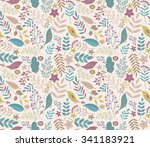 vector hand drawn seamless... | Shutterstock .eps vector #341183921