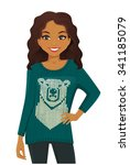woman in warm sweater with... | Shutterstock .eps vector #341185079