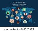 global social network abstract... | Shutterstock .eps vector #341189921