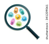 colorful germs and magnifying...   Shutterstock .eps vector #341209061
