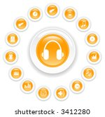music and audio vector icons | Shutterstock .eps vector #3412280