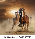 Stock photo two wild chestnut horses running together in dust front view 341233799