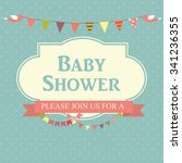 blue baby shower invitation... | Shutterstock . vector #341236355