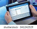man filling out an application... | Shutterstock . vector #341242529
