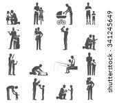black fatherhood flat icons... | Shutterstock .eps vector #341245649