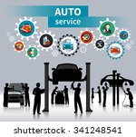 auto service concept background ... | Shutterstock .eps vector #341248541