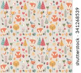 seamless pattern with cute... | Shutterstock .eps vector #341268539