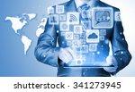 business man using tablet pc... | Shutterstock . vector #341273945