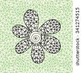 black flower inside triangle...   Shutterstock .eps vector #341274515