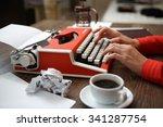 Side View Of Red Typewriter ...