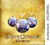 christmas background with three ... | Shutterstock .eps vector #341289581