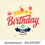 retro birthday card | Shutterstock .eps vector #341292407